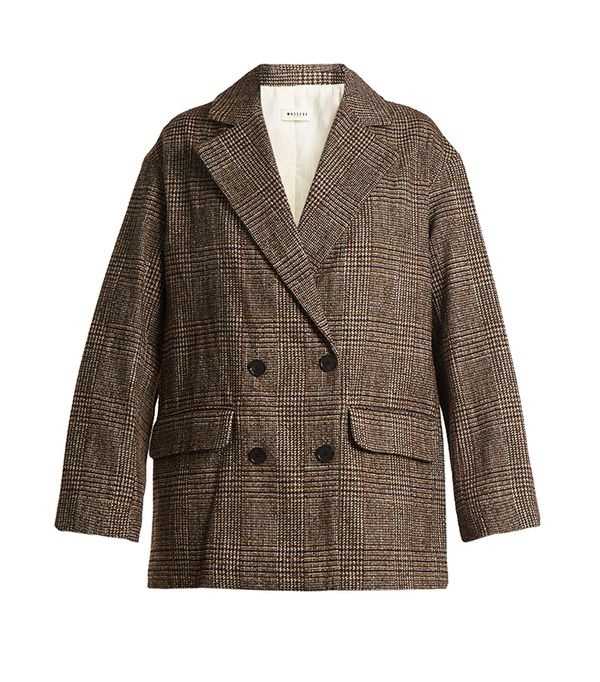 Masscob Double-Breasted Checked Cotton-Blend Tweed Blazer