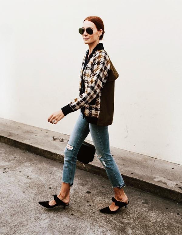 Cardigan + Cropped Jeans + Kitten Heels