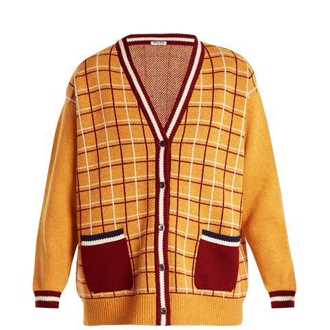 Oversized Checked-Wool Cardigan