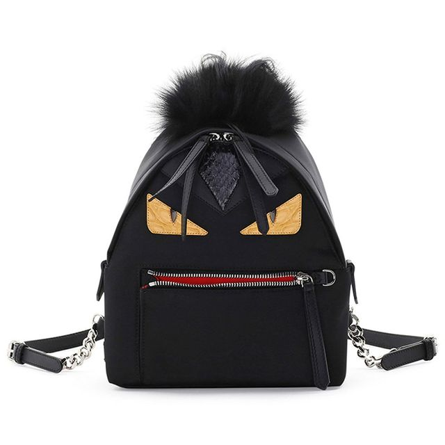 Fendi Mini Monster Mohawk Backpack in Black