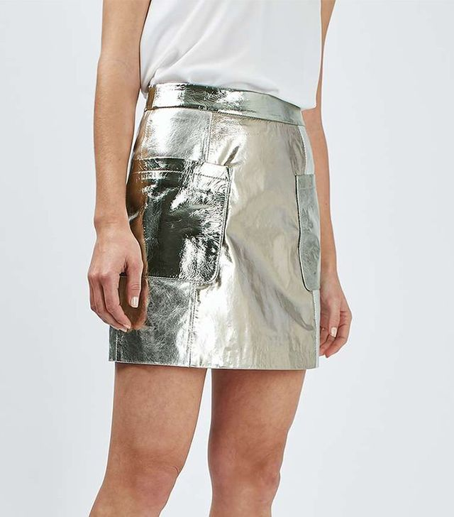 Topshop Metallic Leather Mini Skirt