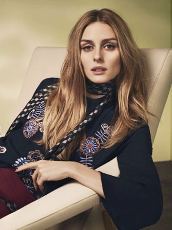 Style Notes: Even at work she loves the skinny scarf. For business-friendly attire, opt for sharp geometric patterns.