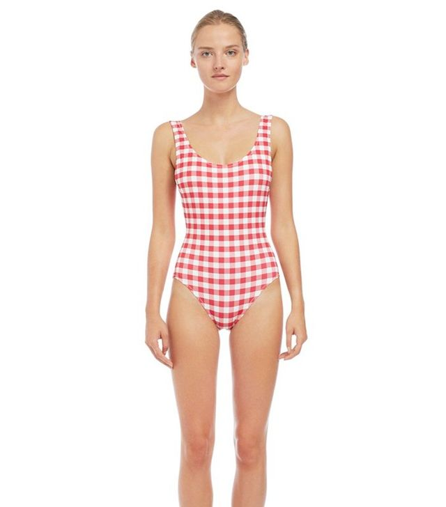 Solid & Striped The Anne-Marie in Raspberry & Cream Gingham