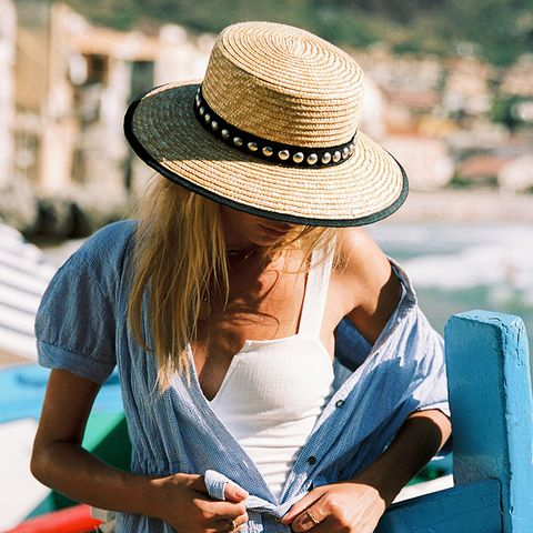 Fame Studded Straw Boater by Free People