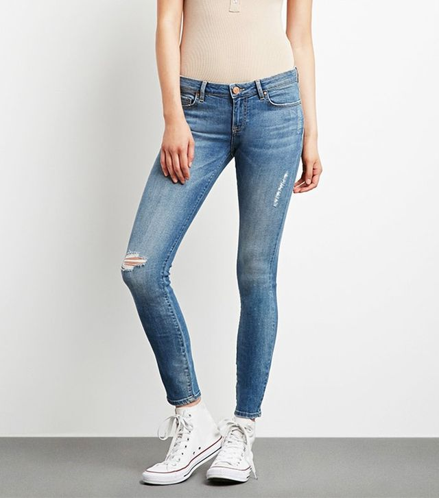Forever 21 Distressed Low-Rise Jeans