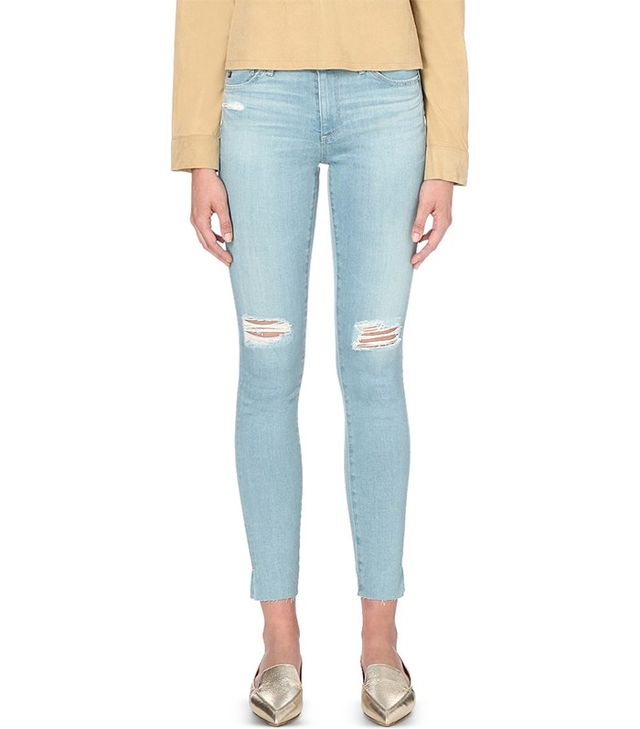 AG Distressed Super-Skinny Low-Rise Jeans