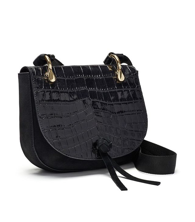 Elizabeth and James Zoe Croc Embossed Leather Saddle Bag