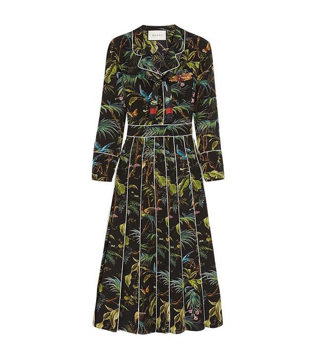 Gucci Embellished Printed Midi Dress
