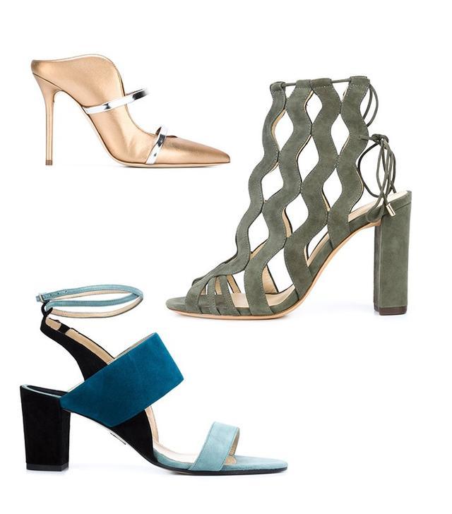Shop: Malone Souliers Mareen Mules ($559); Alexandre Birman Loretta Sandals ($750); Paul Andrew Bi-Color Sandals ($795).