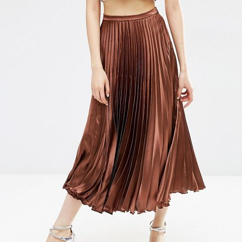 Midi Skirt in Pleated Satin