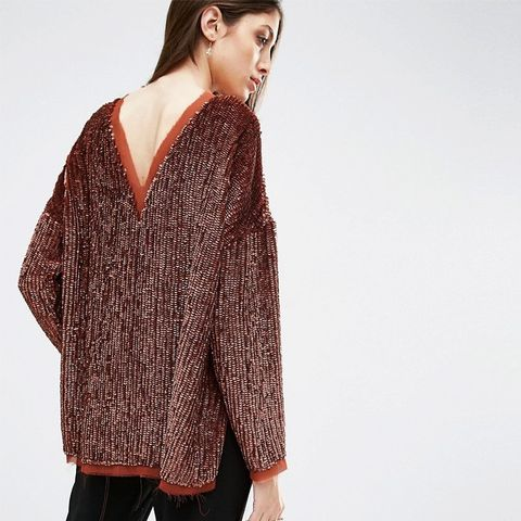 Sequin Oversized Sweat with V Back & Raw Edge