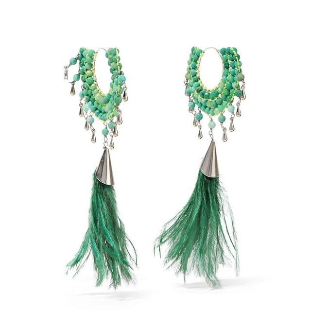 Rosantica Faggio Palladium-Tone Quartz and Feather Earrings