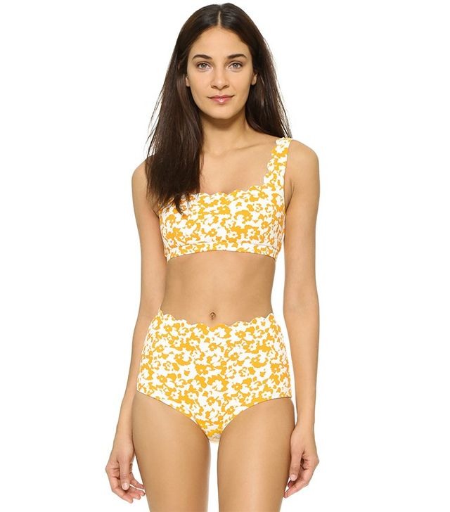 Marysia Swim Palm Springs Sporty Bikini Top ($145) and High Waisted Bottoms($145)The higher waist makes this set a flattering choice.