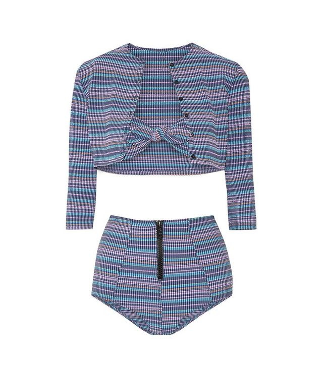 Lisa Marie Fenandez Poppy Striped Bandeau Bikini Set