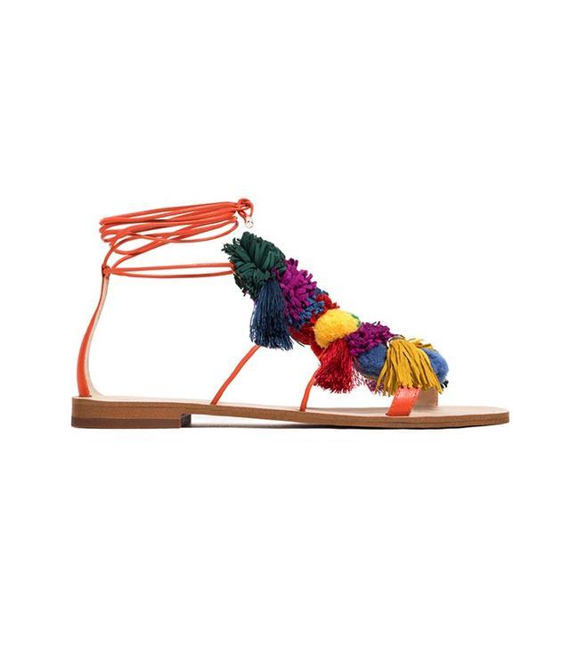 Zara PomPom Leather Sandals