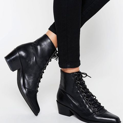 Ariana Leather Lace Up Ankle Boots