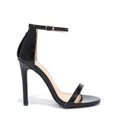 Liliana VIP Ticket Black Patent Ankle Strap Heels