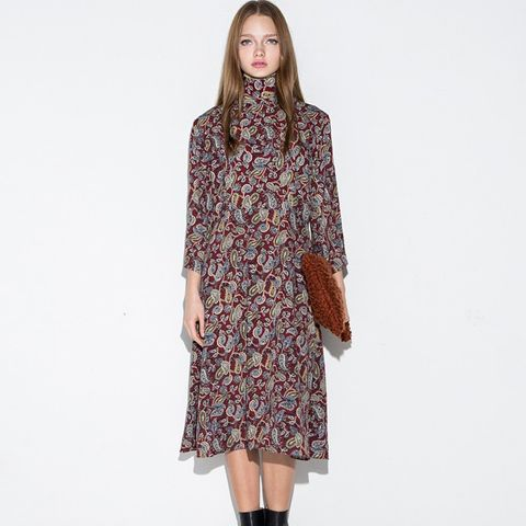 Paisley  Moxk Neck Midi Dress