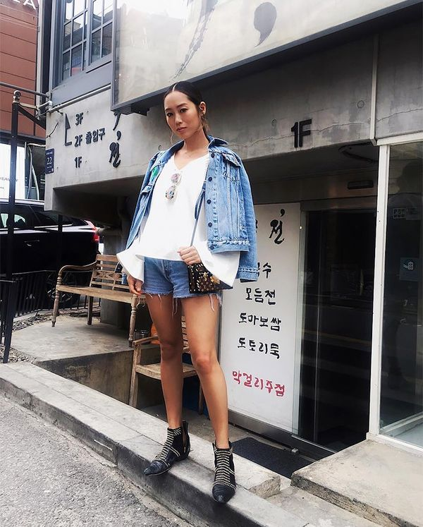 On Aimee Song: Two Songs V-Neck Bell Sleeve Top ($148); Paige Margot Shorts ($169).