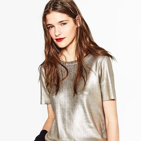 Short Sleeve Shiny Sweater