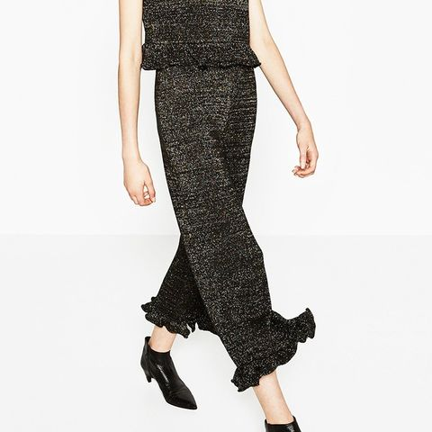 Trousers With Frilled Hem