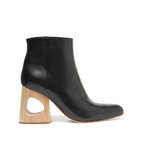 Cutout Leather Ankle Boots