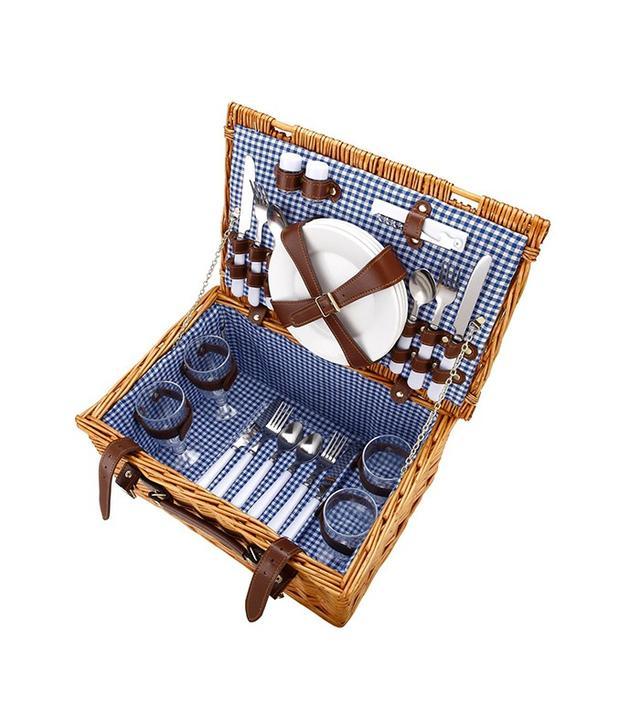 VonShef 4 Person Wicker Picnic Basket Hamper Set with Flatware
