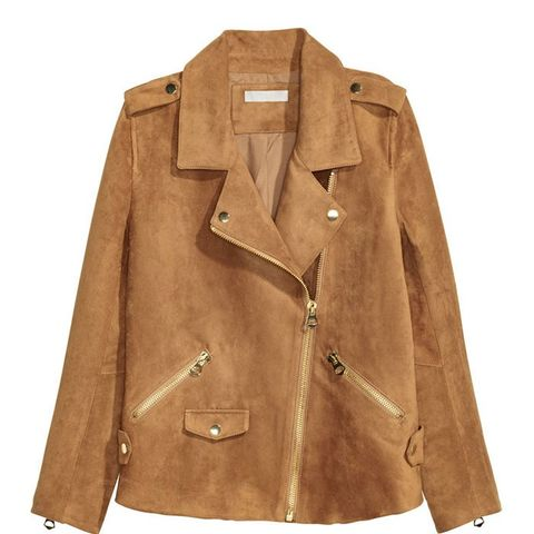 Imitation Suede Biker Jacket