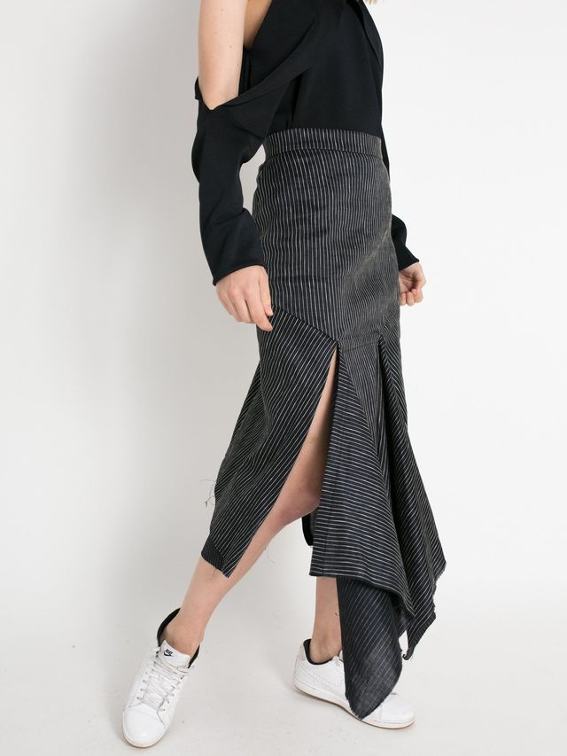 KITX Midnight Pinstripe Fold And Split Front Skirt