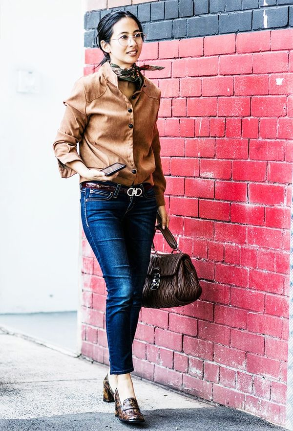 Brown and denim is a no-brainer successful pairing.