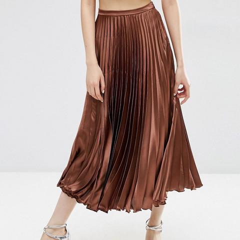 Midi Skirt in Pleated Satin
