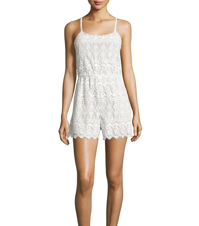 Alice + Olivia Cassie Sleeveless Lace Romper