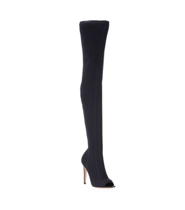 Gianvito Rossi Vires Cuissard Knitted Thigh High Peep Top Boots