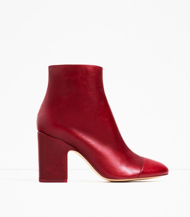 Zara High Heel Leather Ankle Boots With Toe Cap