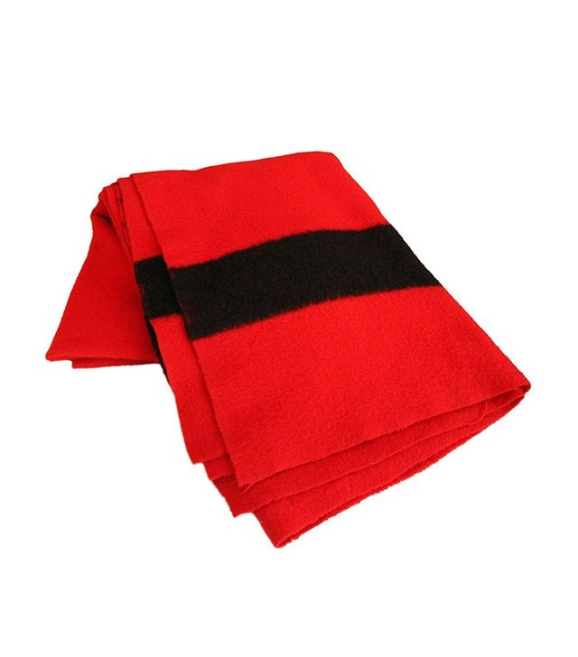 Hudson Bay Company Red Wool Blanket with Four Black Bands from England