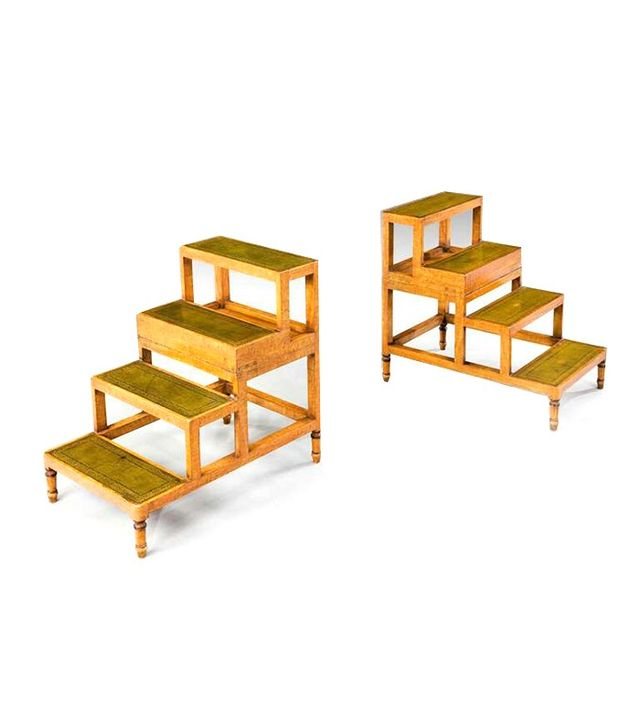 Vintage Pair of Satin Beech Library Steps
