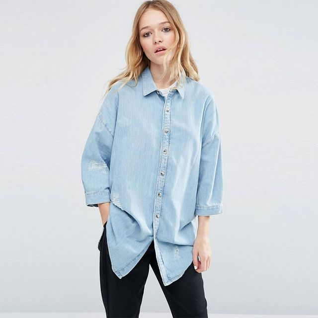 ASOS Embroidered Boyfriend Shirt