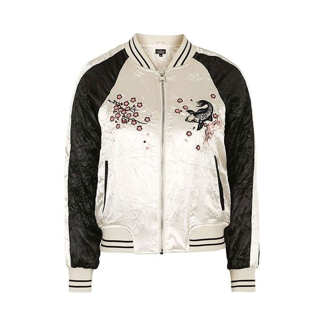 Topshop Contrast Embroidered Bomber Jacket