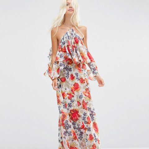 Beautiful Floral Ruffle Front Cold Shoulder Maxi Dress