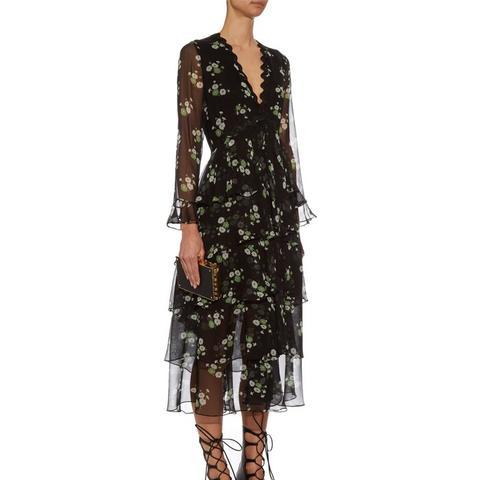 Daisy-Print Tiered Silk Dress