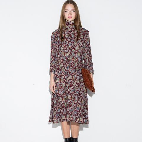 Paisley  Moxk Neck Midi Dress