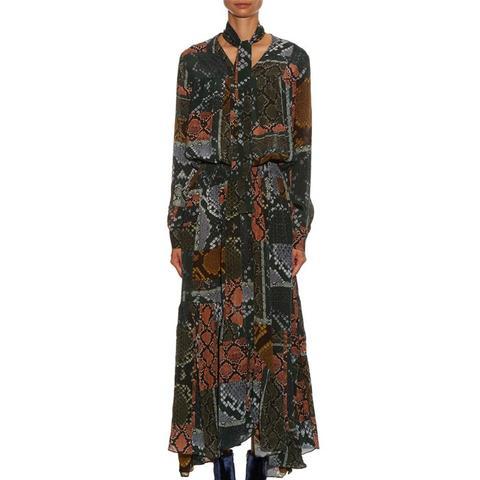 Martha Snake-Print Tie-Neck Dress