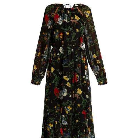 Seville-Print Ruffled-Hem Silk Dress