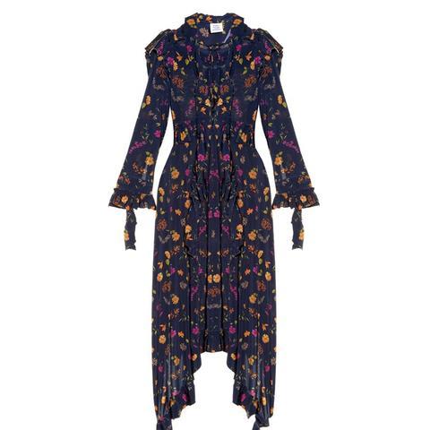 Ruffle-Shoulder Floral-Print Dress
