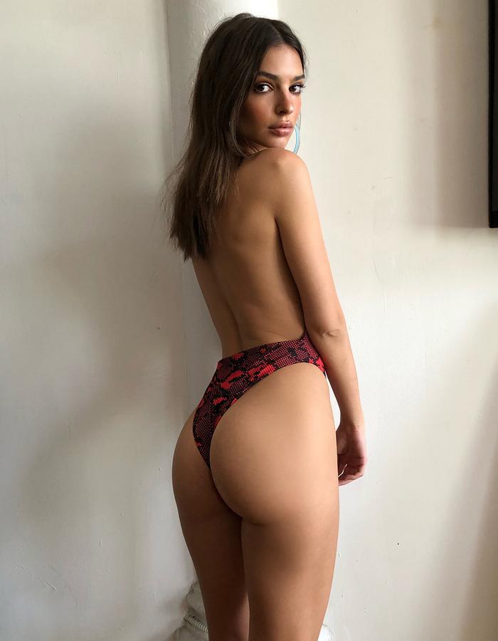 Brazilian Bikini Trend: Emily Ratajkowski Wearing a Snakeprint Swimsuit From Inamorata