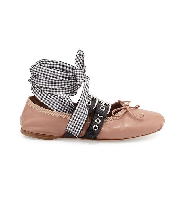 Miu Miu Belted Leather Ankle-Wrap Ballerina Flat in Cammeo Nero