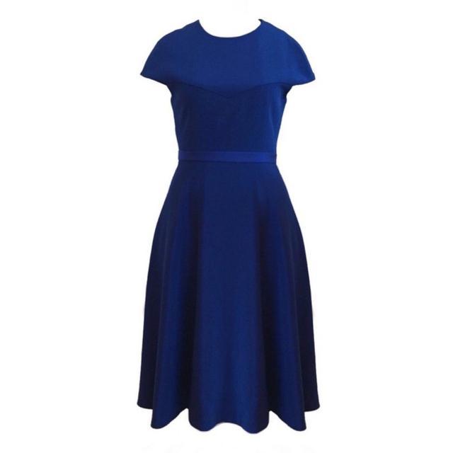 Christian Siriano Cobalt Blue Cap Sleeve Dress