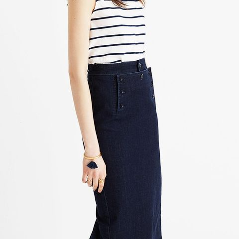 Denim Sailor Pencil Skirt