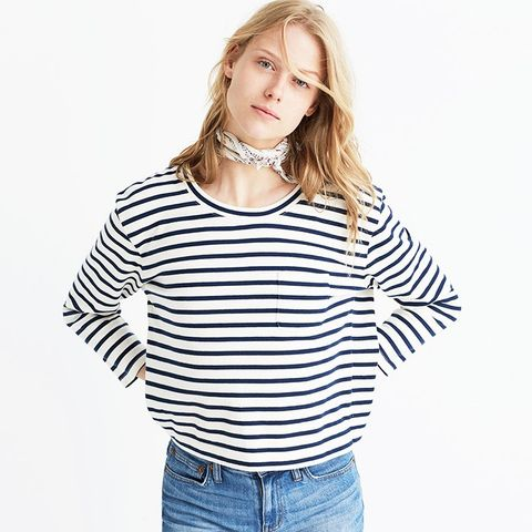 Long-Sleeve Crop Tee in Linden Stripe