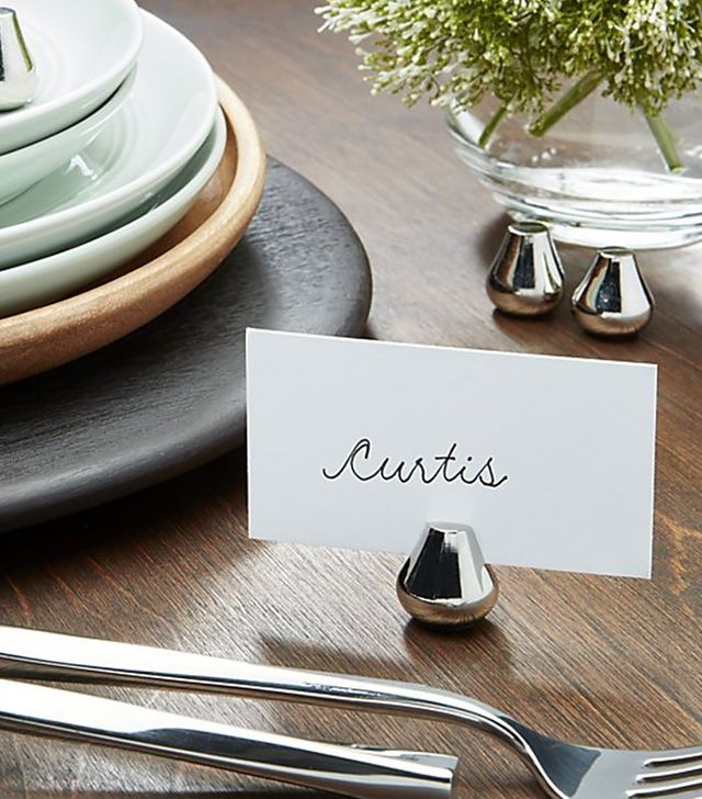 Crate and Barrel Silver Place Card Holders, Set of 6
